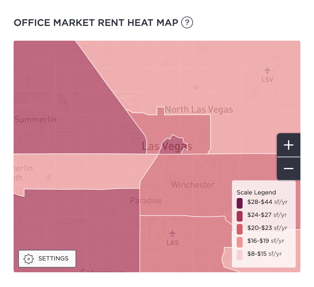 Las Vegas Office Market Rent Heat Map